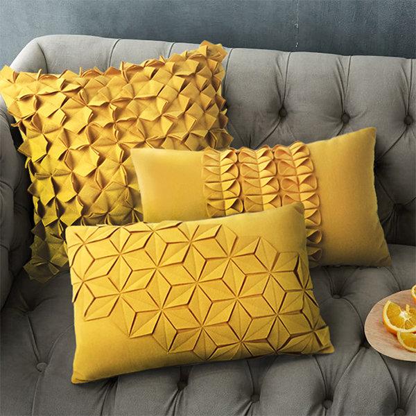 Yellow Seat Cushion From Apollo Box Applique Cushions Geometric Pillow Covers Yellow Cushions