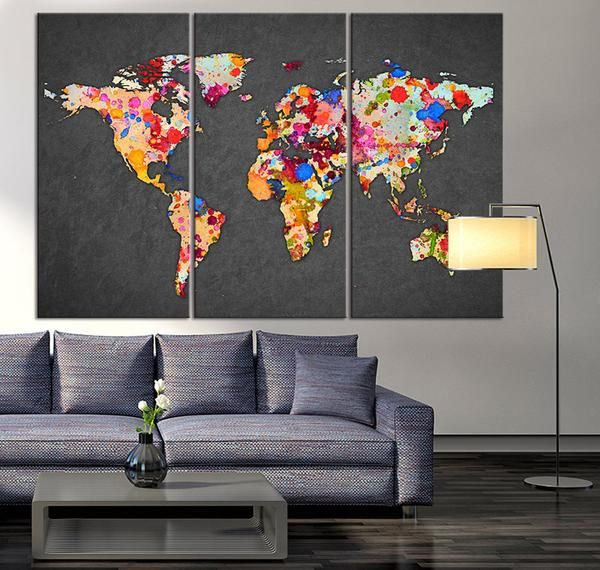 3 piece world map canvas print on gray background large world map 3 piece world map canvas print on gray background large world map wall art splash world map canvas print watercolor map canvas wall art gumiabroncs Gallery