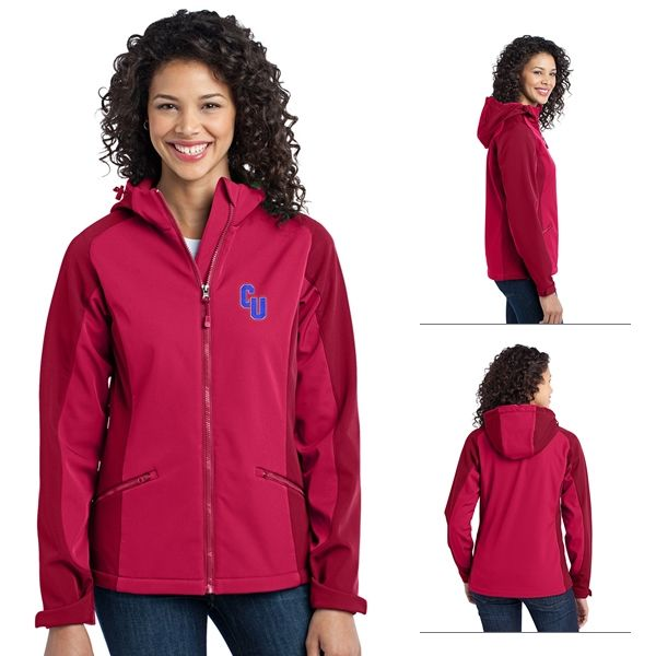Port Authority L312 Ladies Gradient Hooded Soft Shell Jacket | Embroidered Logo Port Authority Zippered Jackets