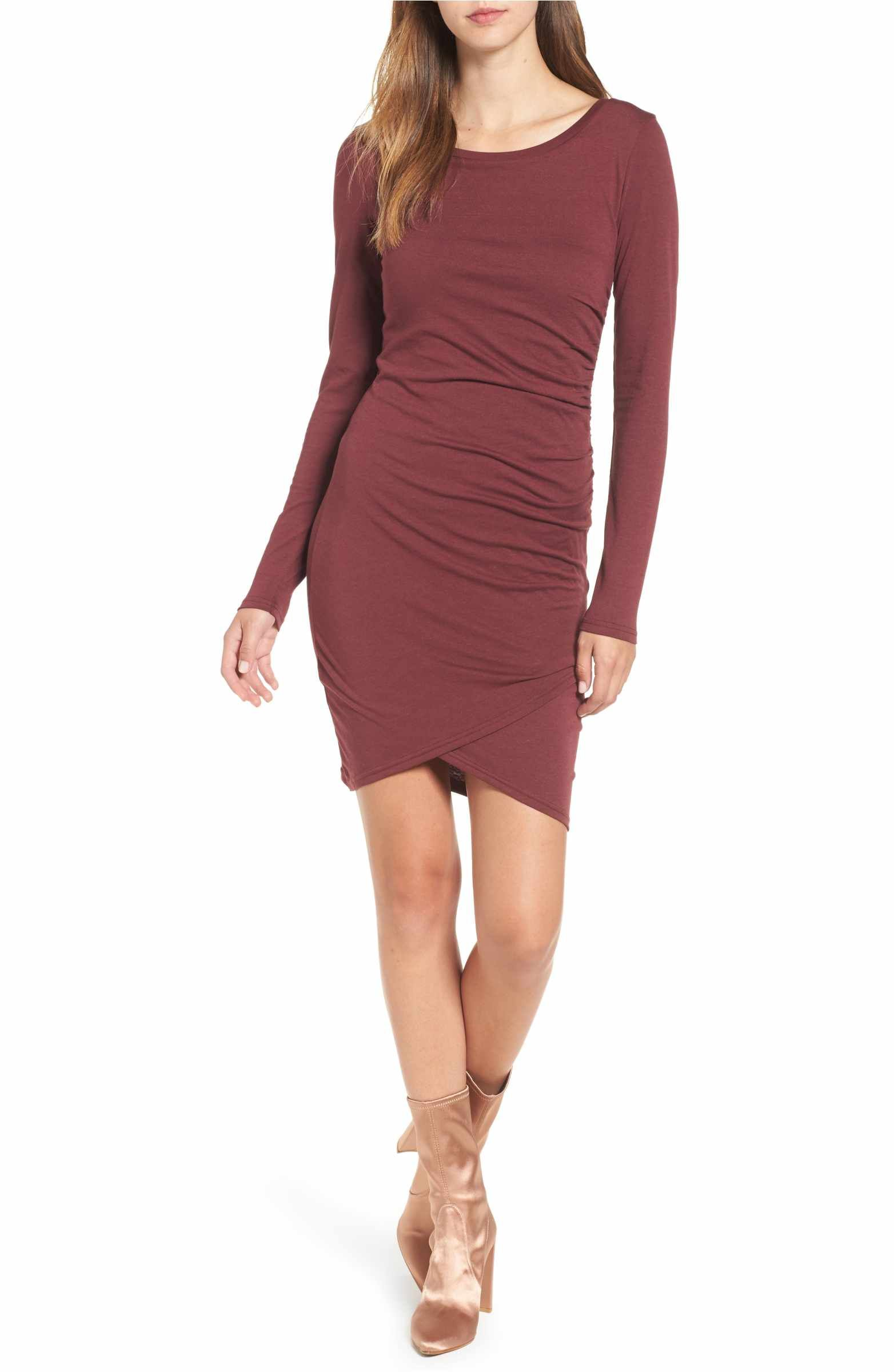 Main Image Leith Ruched Long Sleeve Dress Nordstrom Online Exclusive Nordstrom Dresses Clothes Long Sleeve Dress [ 2400 x 1564 Pixel ]