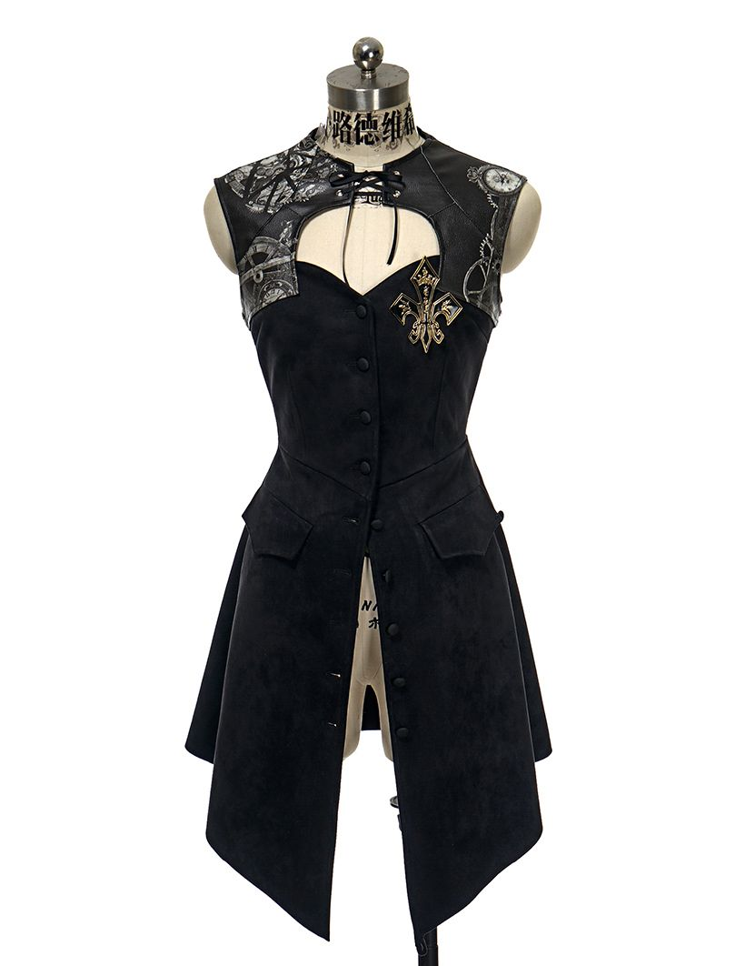 Gothic Steampunk Retro Steel Boned Corset Dress Jacket*Black Leather ...