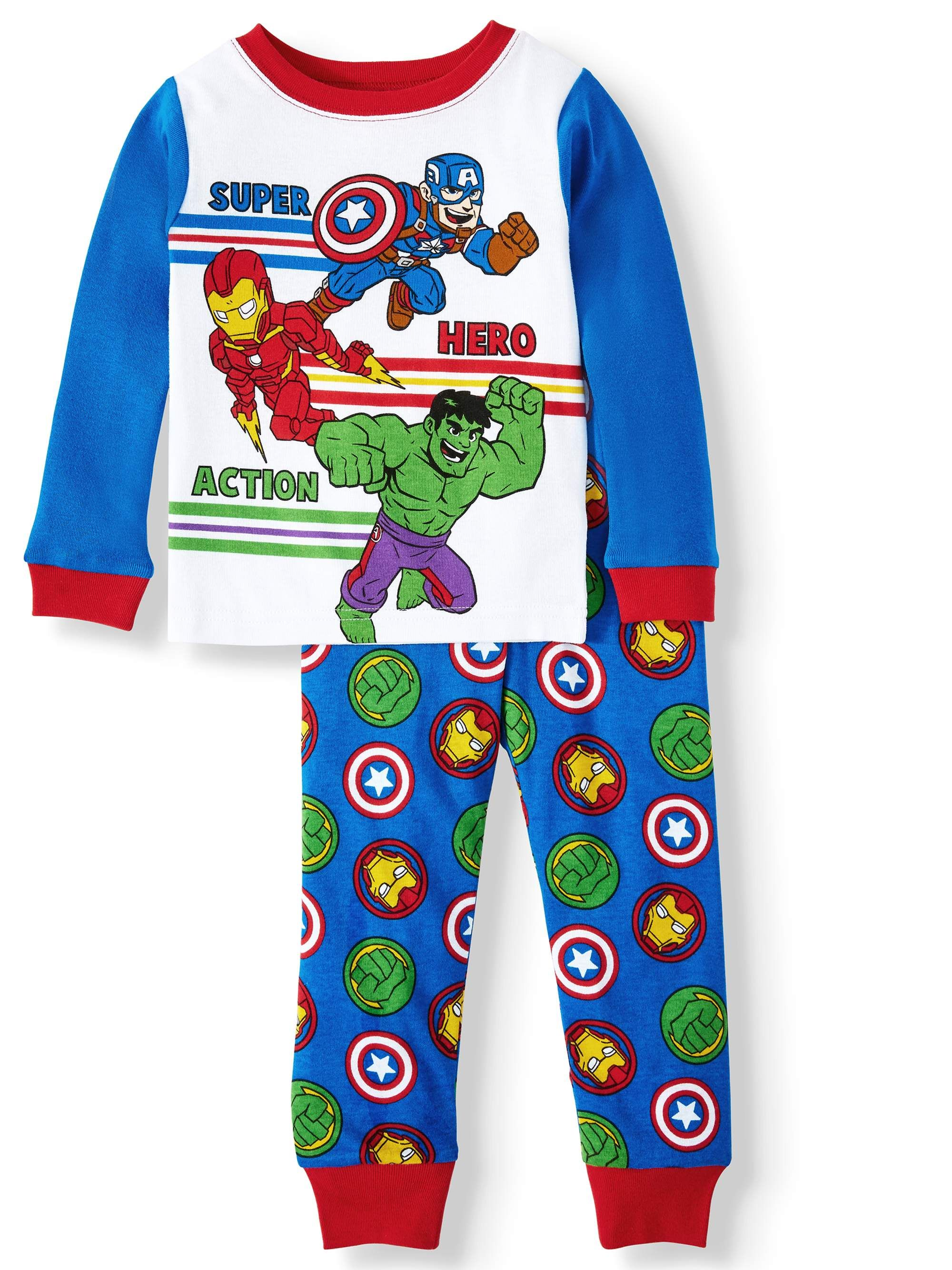 Super Hero Soft Knit Long Sleeve TOP with Soft Knit Bats ON Pajama Set