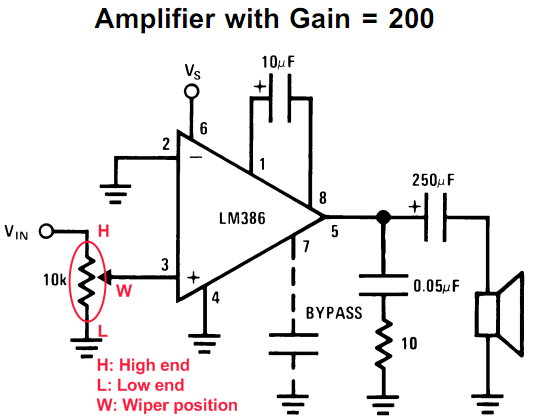 Lm386 Op Amp Schematic Audio Potentiometer Audio Amplifier Amplifier Electronics Basics