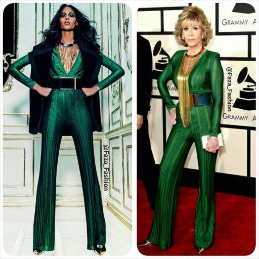 Jane Fonda in Balmain Pre-Fall 2015 || Clutch: Paula Cademartori || Heels: Jimmy Choo - 2015 Grammy Awards - Grammys  جين فوندا في الجراميز لابسه  من بالما (مجموعة ما قبل الخريف لعام ٢٠١٥) || الكعب من جيمي تشوو || الكلتش: باولا كادمرتوري