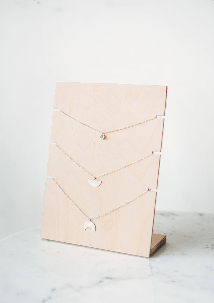 Birch Plywood Free Standing Jewellery Stand for Necklaces