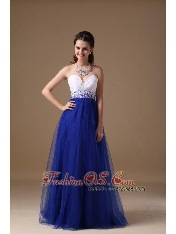 White and Royal Blue Sweetheart Prom Dress Floor-length http://www ...