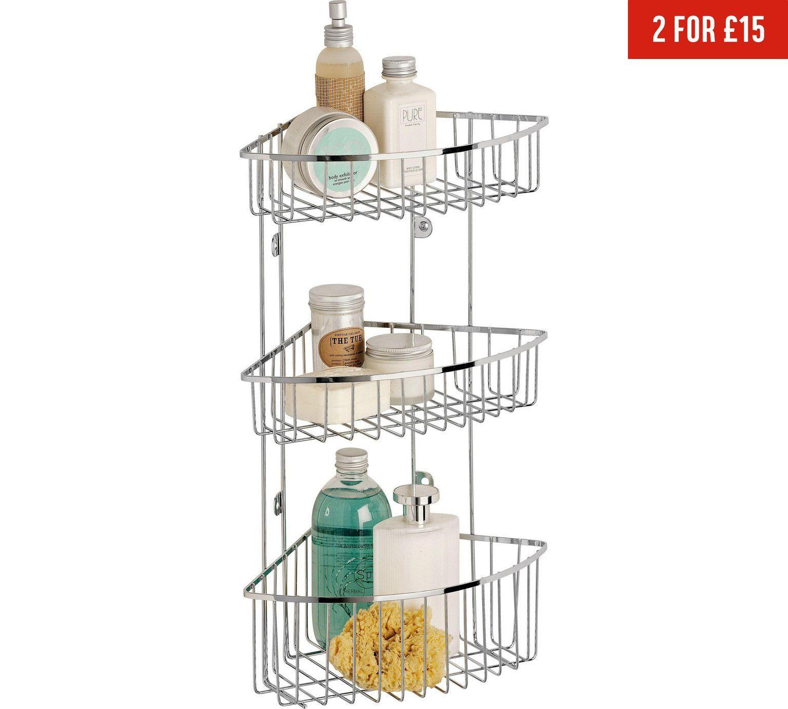 Buy HOME 3 Tier Wall Mounted Chrome Shower Caddy at Argos.co.uk ...