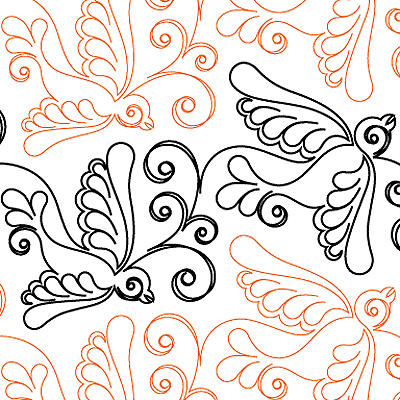 Swallows 1 - Digital - Quilts Complete - Continuous Line Quilting Patterns