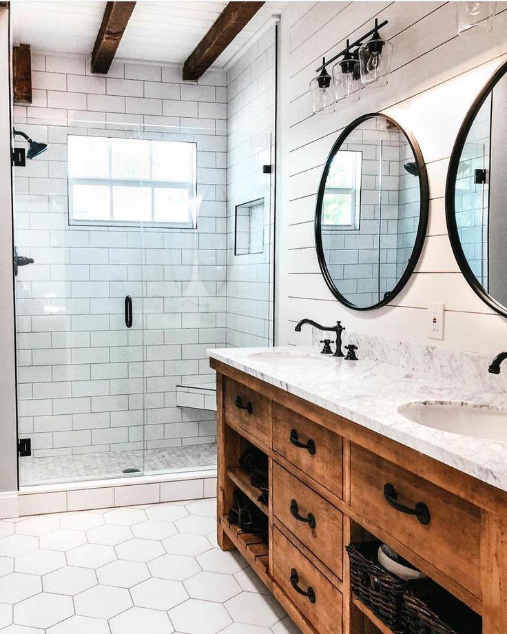 "Bathrooms of Instagram on Instagram: ""Rustic Meets Modern ... on Rustic Farmhouse Bathroom Tile  id=89139"