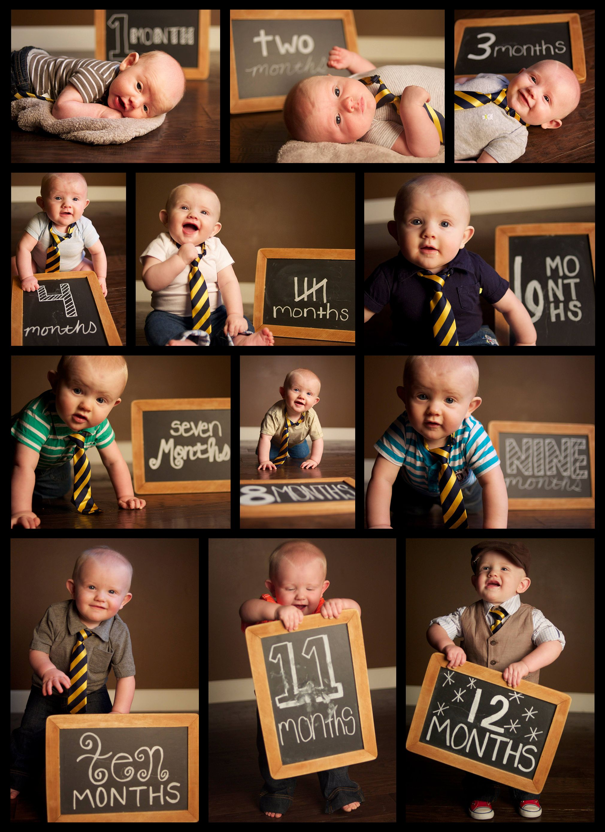 Babys first year monthly photo shoot with chalkboard