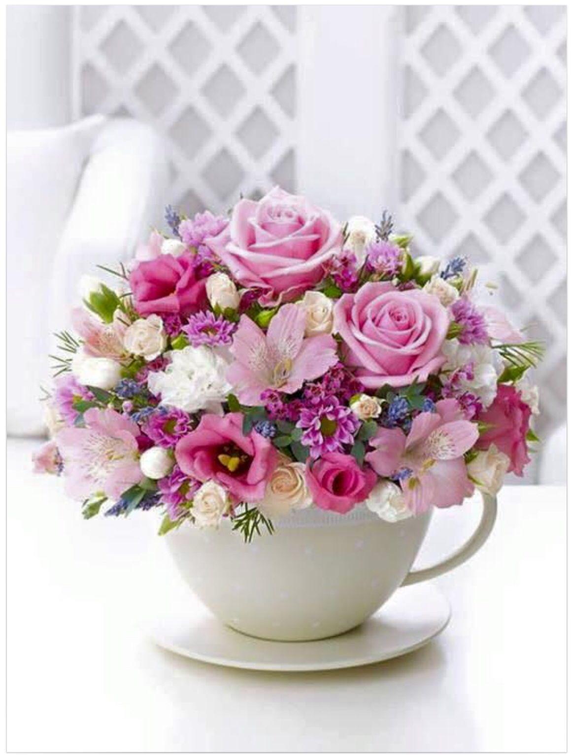 Pastel Teacup and Saucer Arrangement - Interflora. More beautiful flower  arrangements!