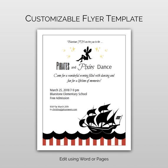 Pirates And Pixies School Dance Invitation Flyer Template And