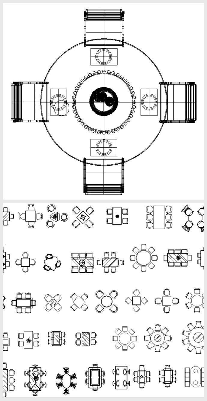 furniture dining detail table model view plan file