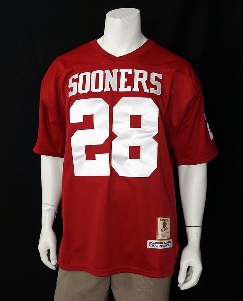 reputable site d466b 51a3d Gridiron Greats Oklahoma Sooners #28 Adrian Peterson Jersey ...