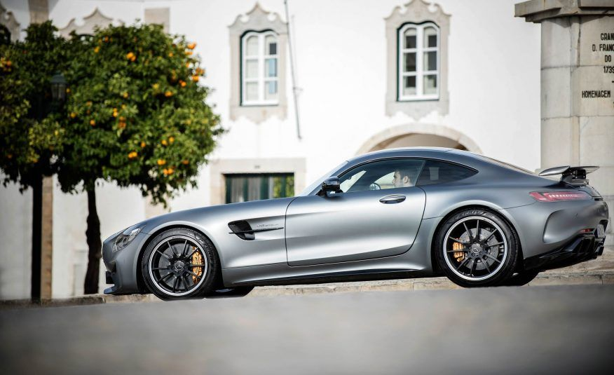 2018 Mercedes AMG GT R silver color, side view