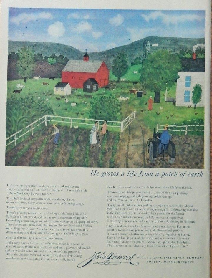 John Hancock Life Insurance 50 S Print Ad Illustration He Grows A