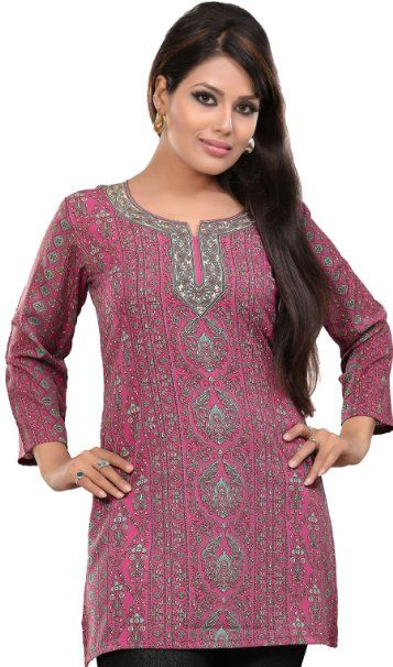 8b312c1060 Amazon.com: Indian Tunic Top Womens Kurti Printed Blouse India Clothing:  Clothing