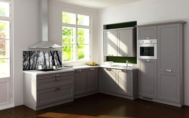 Landhausküche grau  Moderne Landhausküche in Grau mit Nischenrückwand im Forest Design ...