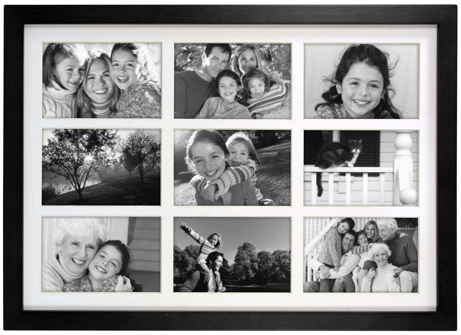Linear Wall Black Wood Matted 9 Opening Matted Collage Frame, 4 x 6 ...