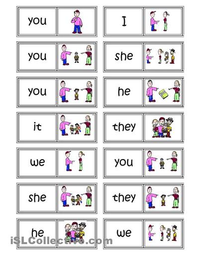 Subject pronouns Domino : ENGLISH IS FUN : Pinterest