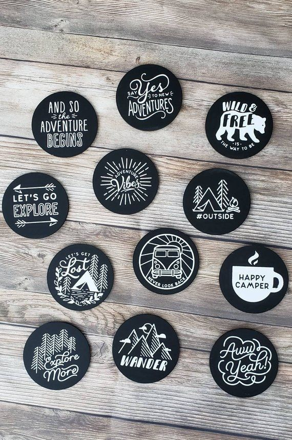 Set Of 12 Chalkboard Adventure Magnets Vinyl Record Art Record Wall Art Vinyl Art Paint