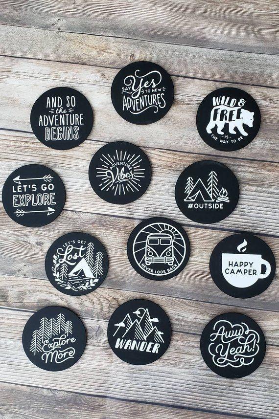 Set Of 12 Chalkboard Adventure Magnets Vinyl Record Art Record Wall Art Vinyl Art Paint