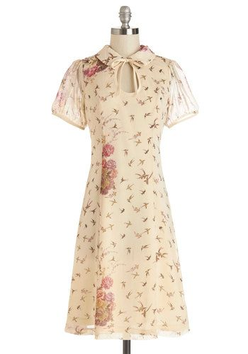 Ask for the Tune Dress - Cream, Pink, Brown, Floral, Print with Animals, Tie Neck, Casual, Short Sleeves, Woven, Good, Collared, Long, Vintage Inspired, 40s, A-line, Spring