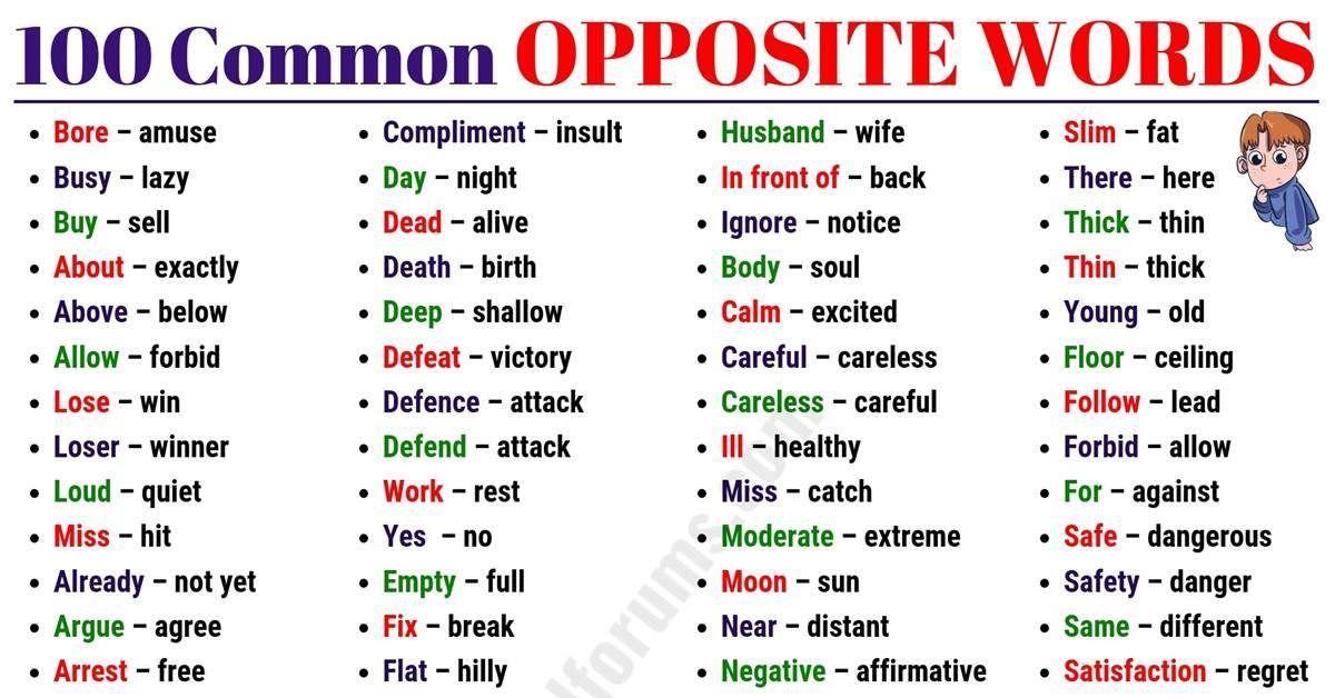 Learn 100  common opposite words in english opposite
