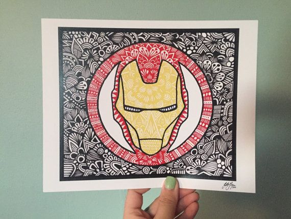 This is a print of a hand drawn zentangle style Iron Man! Available in three sizes