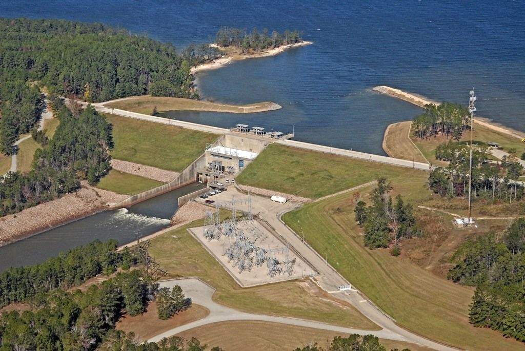 Sam Rayburn Lake in Texas aerial view of the dam
