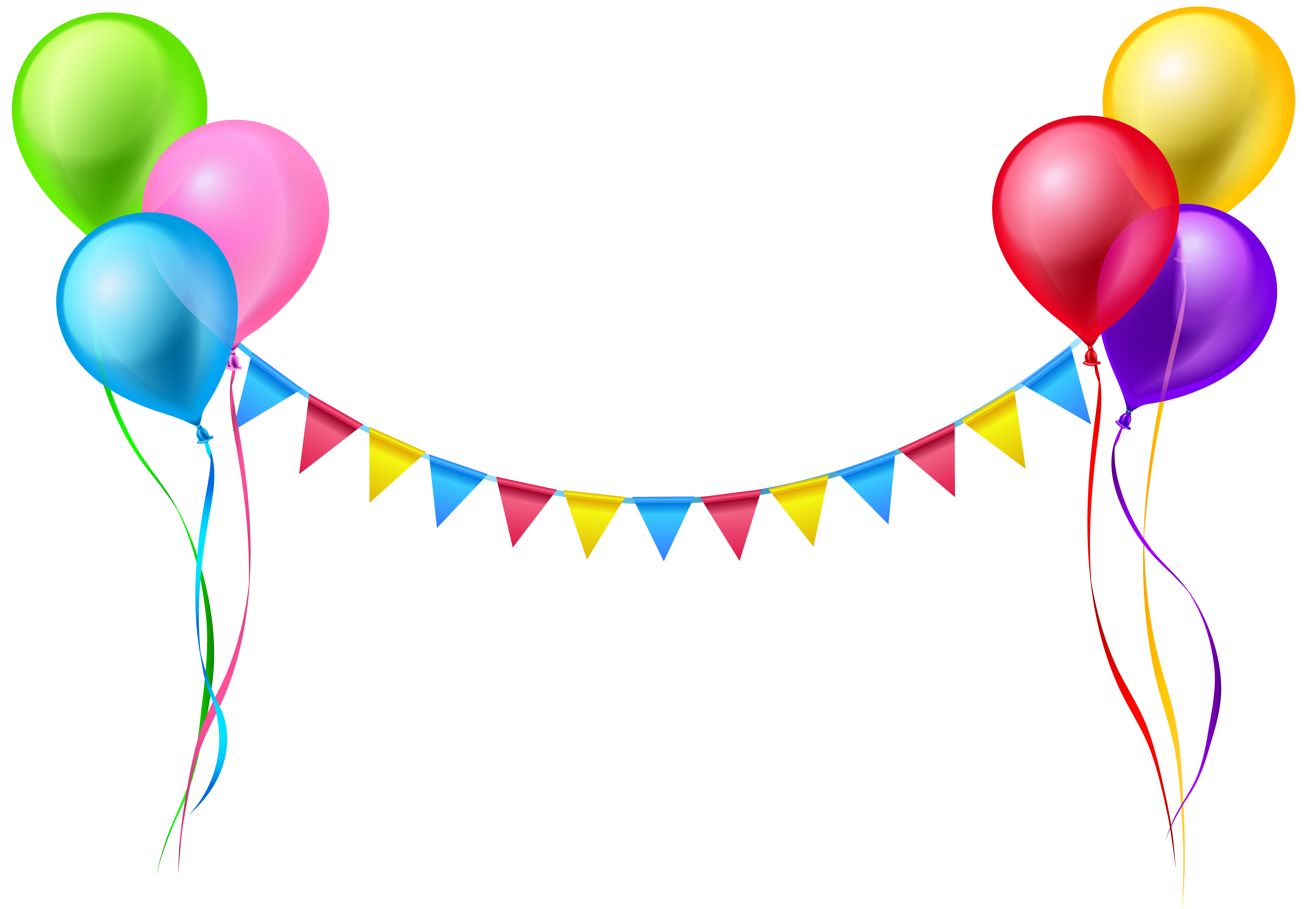 Streamer and Balloons PNG Clip Art Image Happy birthday