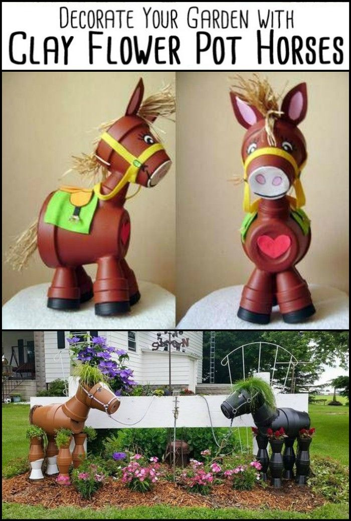 Decorate your garden by making this clay flower pot horse is part of Flower garden Crafts - Learn how to make a clay pot horse planter for your garden