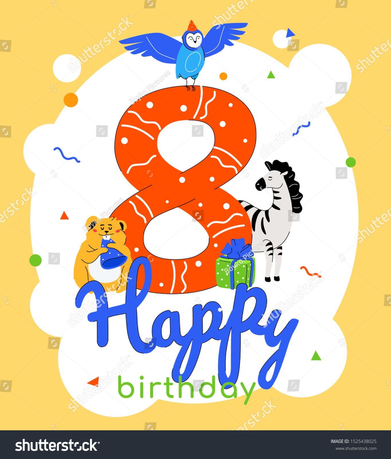 Children 8th Birthday Greeting Card Vector Template Adorable Owl