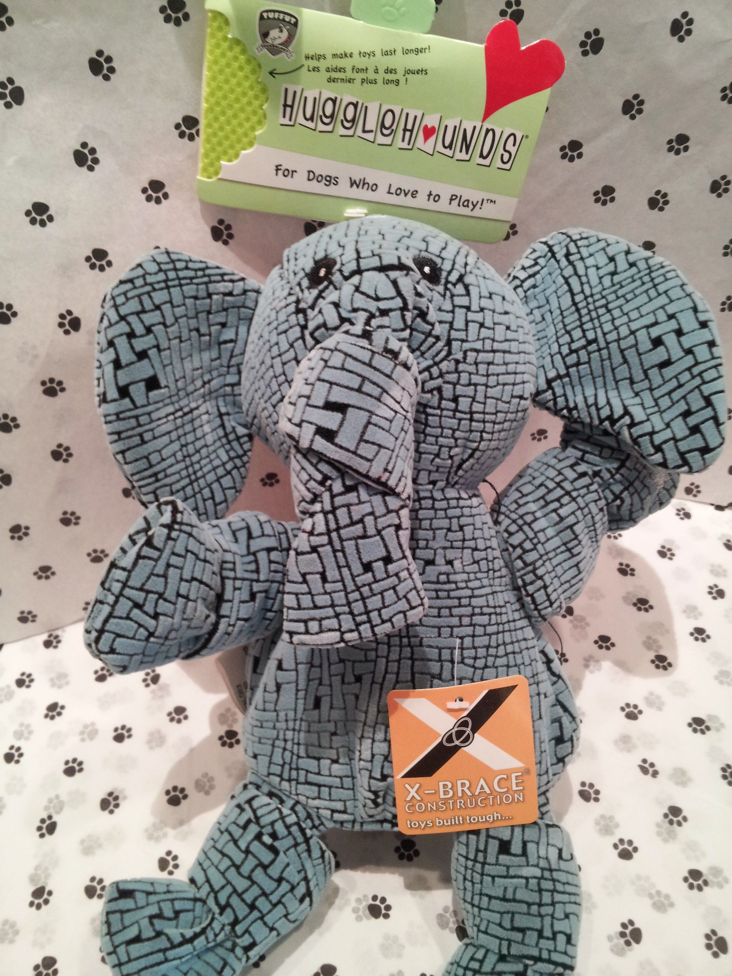 Huggle Hounds Elephant with X-Brace Construction... This guy is super tough, great choice for a hard chewer!! #GodfreysDogdom