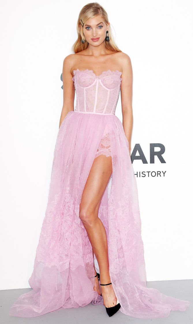 Elsa Hosk in a candy floss pink tulle and lace Ermanno Scervino ...