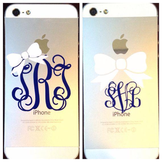 Preppy Monogram Decal Cute Phone Decal Monogram with Bow Phone Monogram Decal Phone Stickers 2 Monogram Decal with Bow Phone Decal