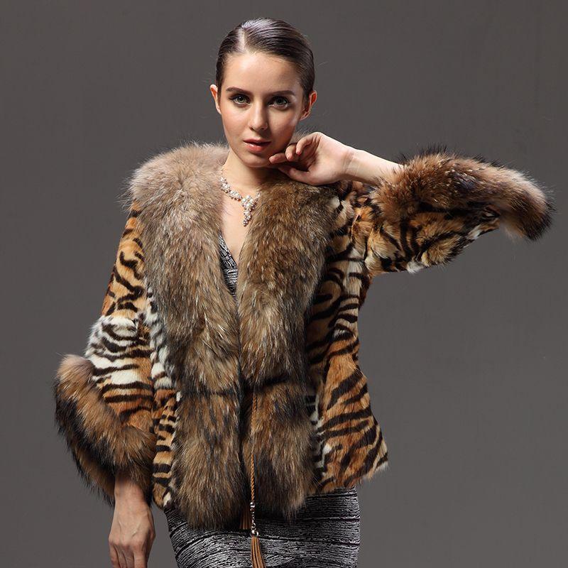 60e1aa848a02d New Natural Raccoon Fur Coats Genuine Fur Jackets Women's Whole Real Rex Rabbit  Furs Outerwear Tiger Stripes Cape Plus Size Coat