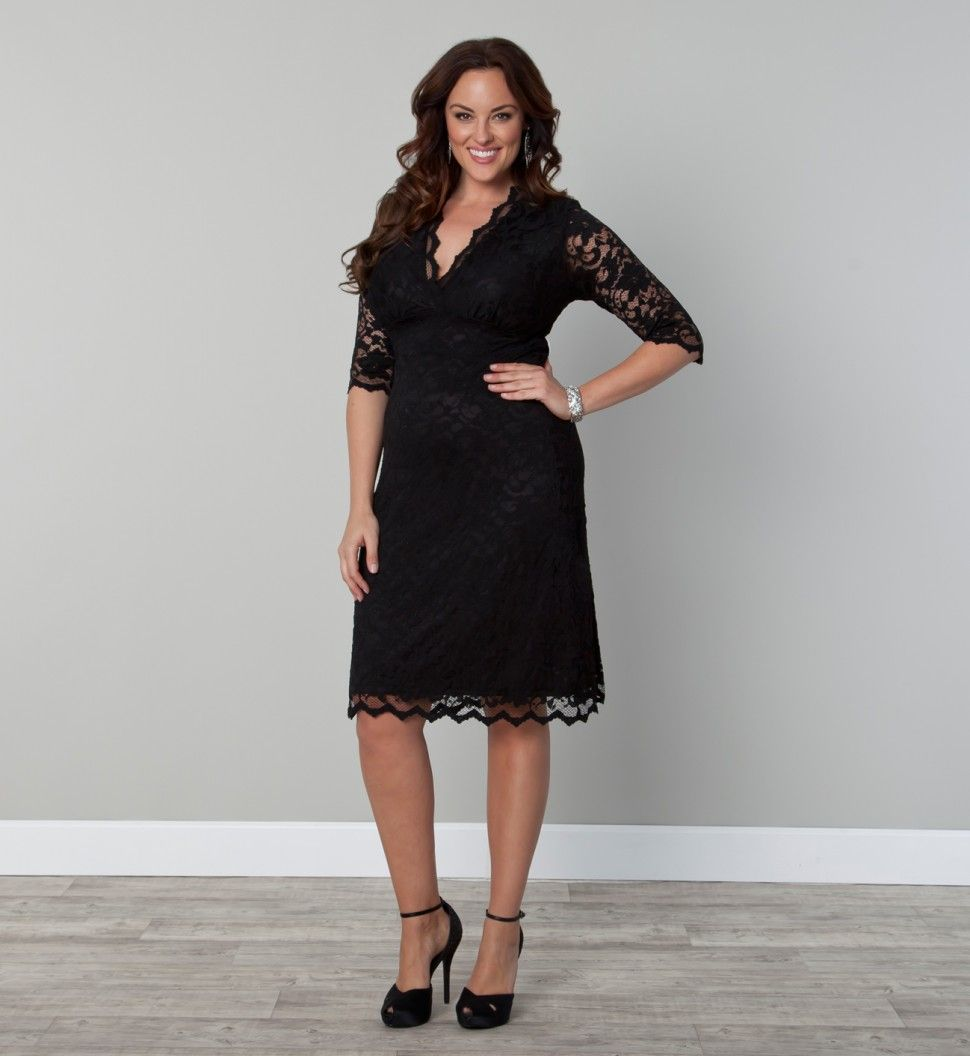 sleeved scalloped boudoir lace plus size cocktail dress by