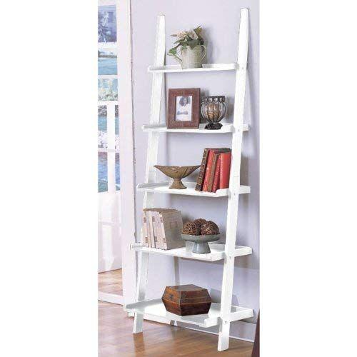 White 5 Tier Leaning Ladder Book Shelf