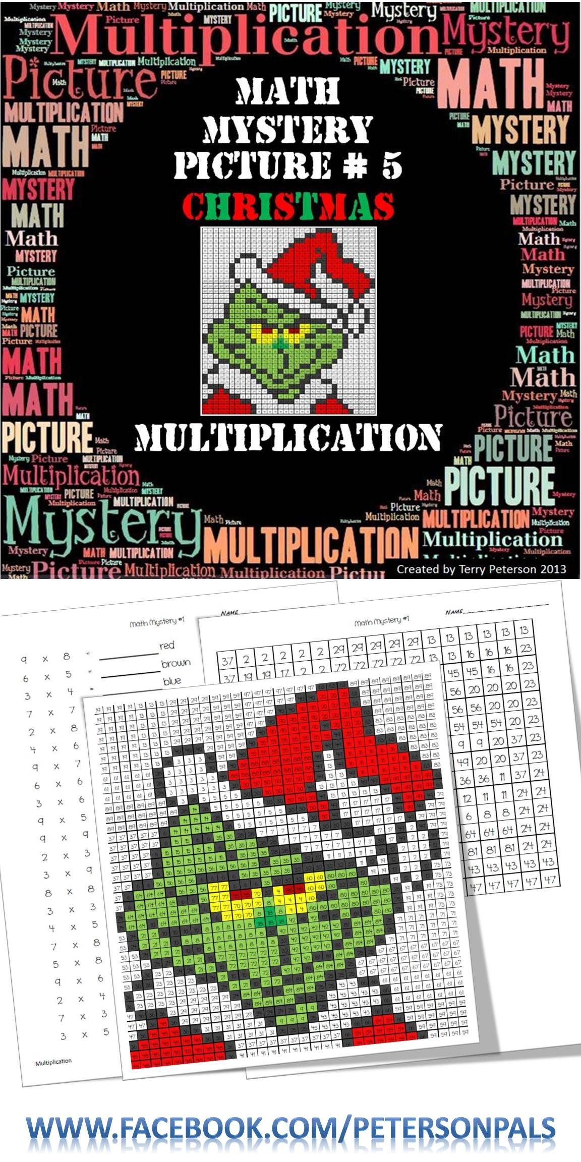 christmas math mystery picture 5 multiplication mr peterson 39 s tpt items christmas math. Black Bedroom Furniture Sets. Home Design Ideas