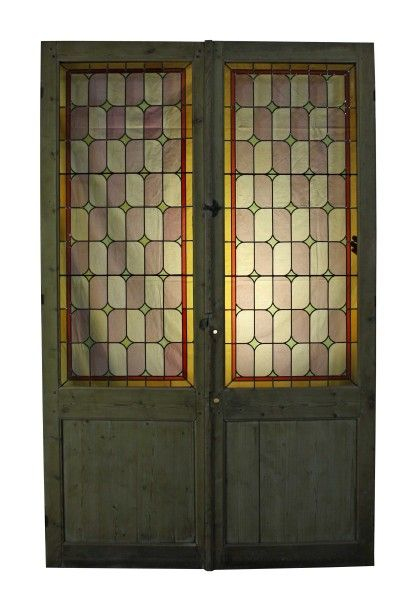 Pair Of Stained Glass Double Doors Room Dividers C 1900 Uk