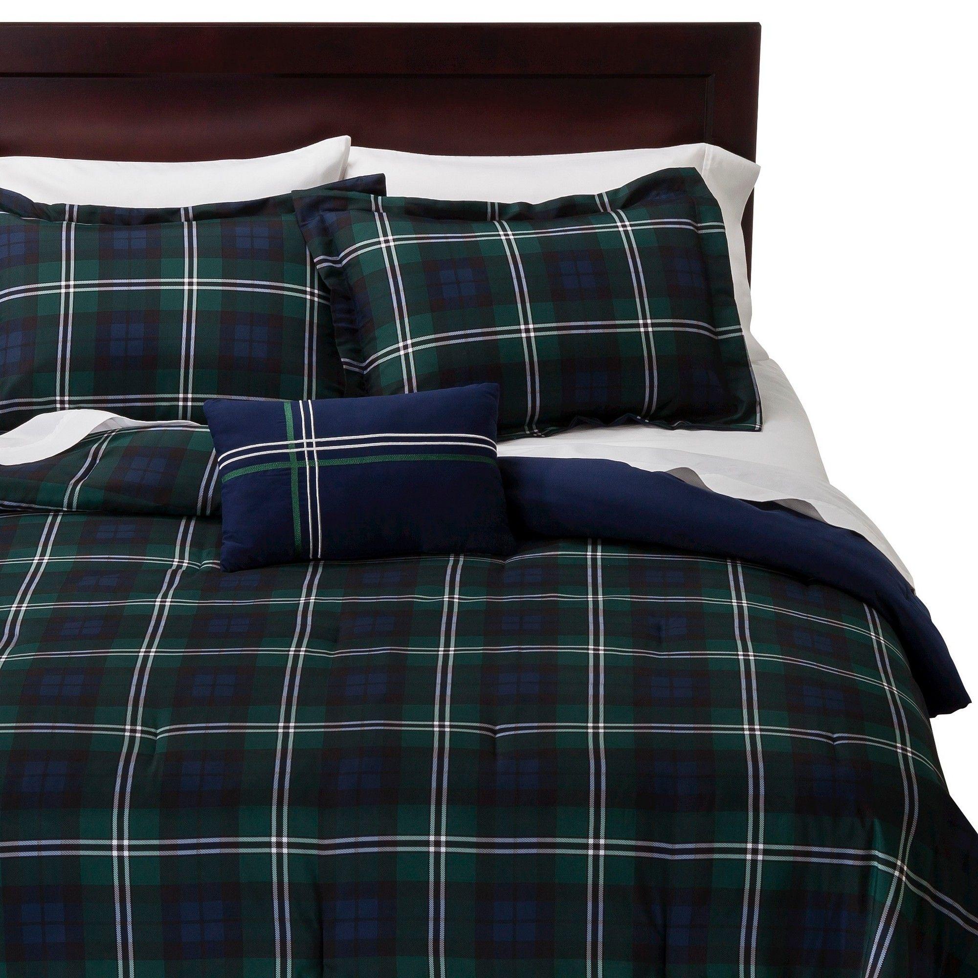 Twin XL Full Queen Bed Blue Green White Tartan Plaid 4 pc Comforter Set Bedding