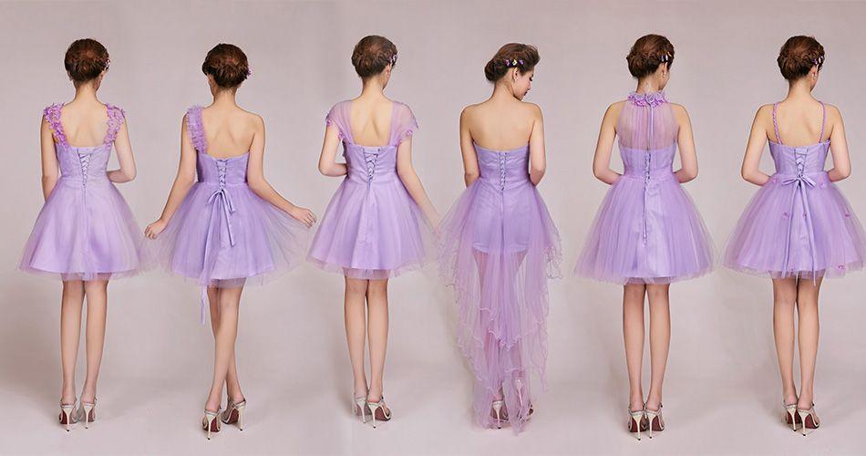 6 Design Short Purple Chiffon Evening Dresses Bridesmaid Dresses