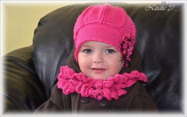 Delicadezas en crochet Gabriela  Conjunto gorra y bufanda para niñas en  crochet eb64bdf4073