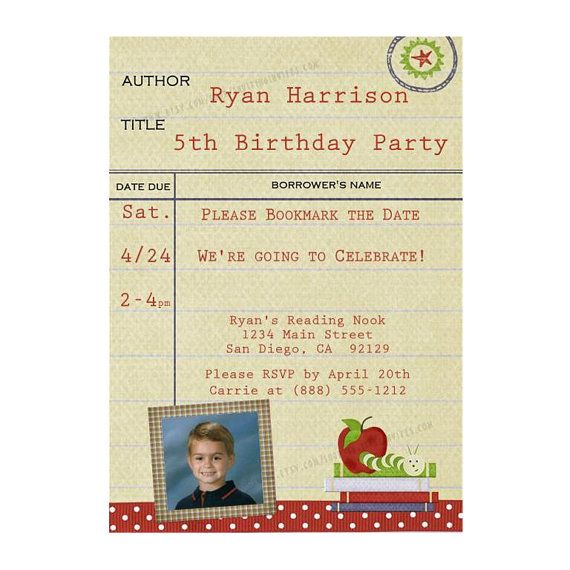 Bookworm Library Card Party Invitation Printable Digital Etsy Party Invitations Printable Party Card Book Birthday Parties