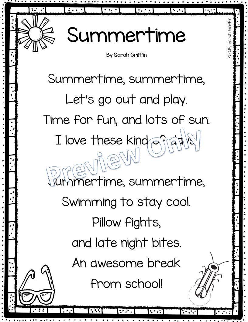 Printable Summer Poem Summer Poems Poetry For Kids Kids Poems