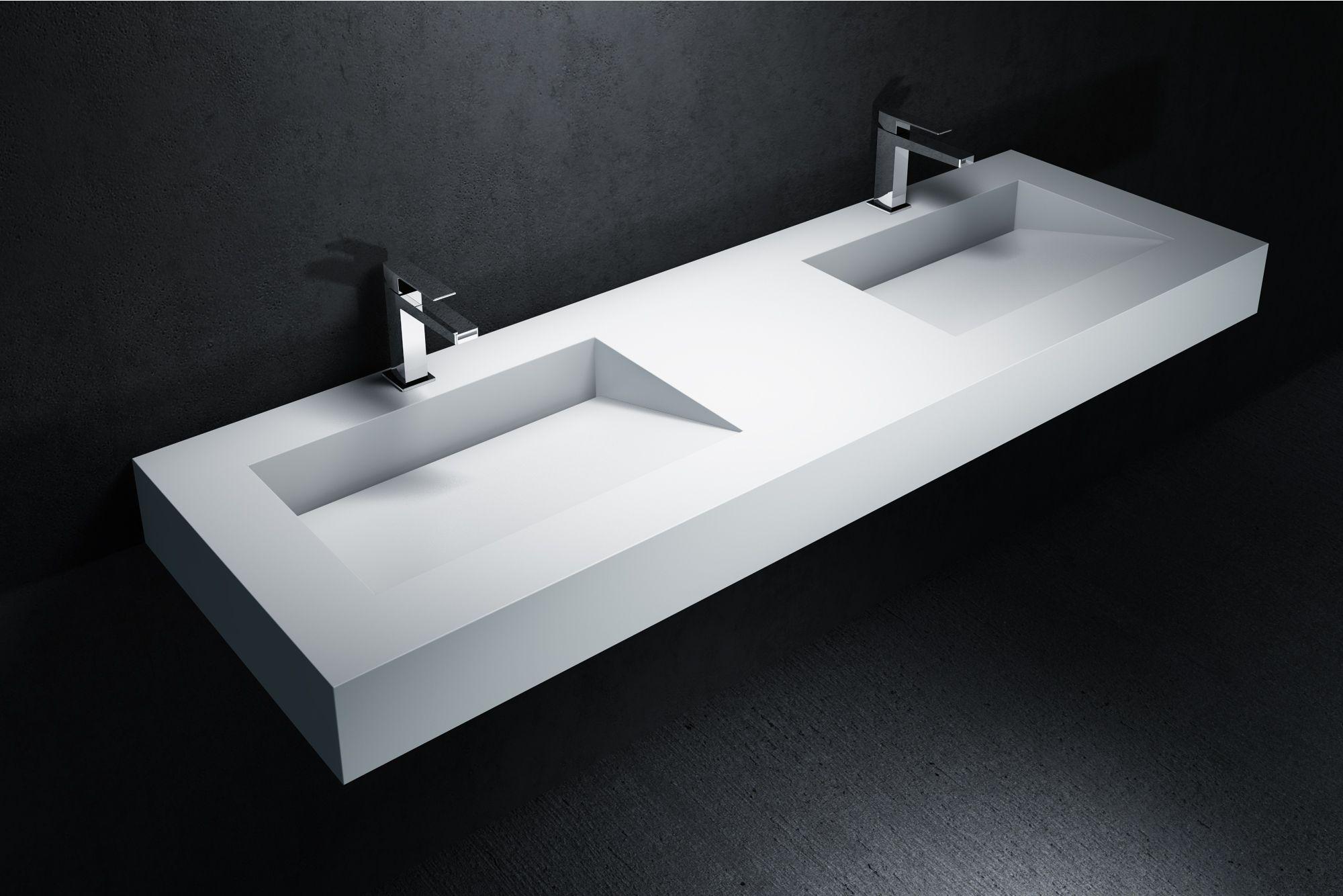 Plan double vasque en DuPont™ Corian® Tennessee  Double vasque