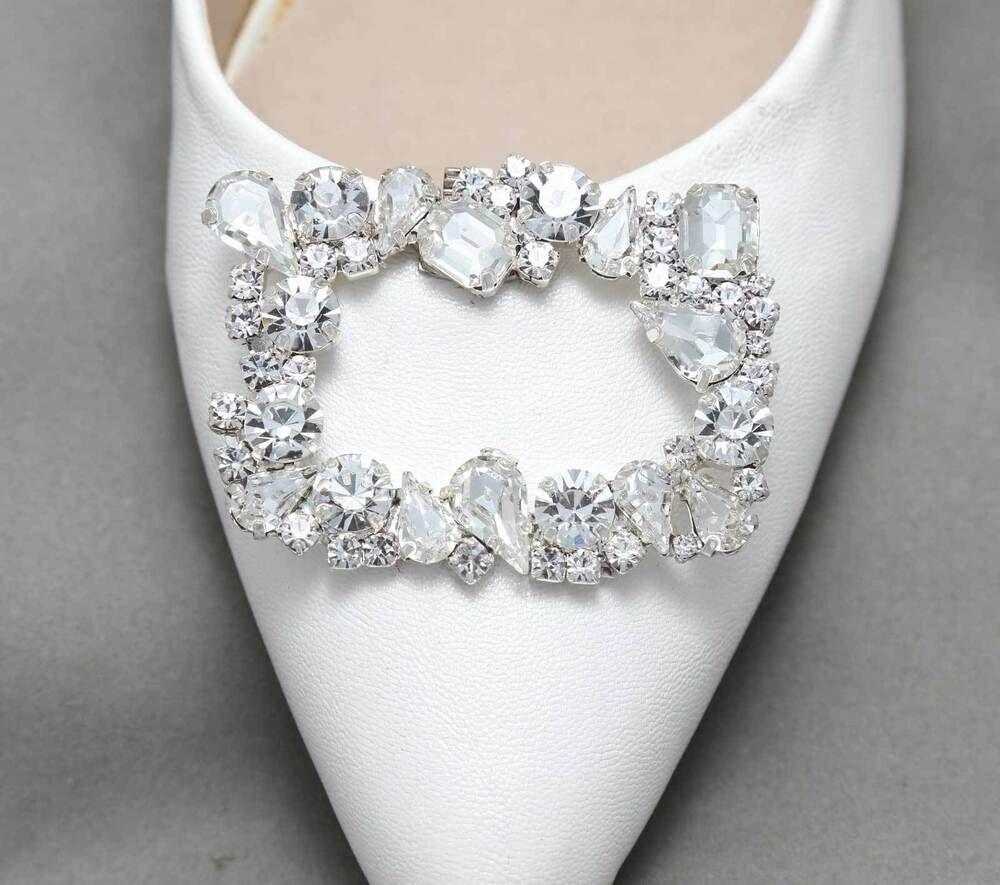 2 Pcs Wedding Bridal Rhinestone Crystal Flower Applique Handmade Shoe Clips