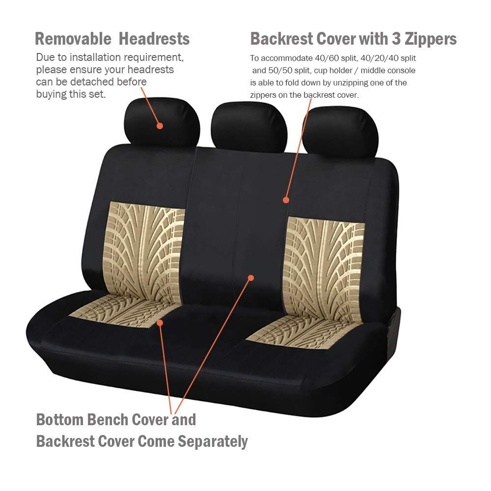 Autoyouth Car Seat Covers Universal Fit Full Set Car Seat Protectors Tire Tracks Car Seat Accessories Car Seat Protector Car Seat Accessories Seat Protector
