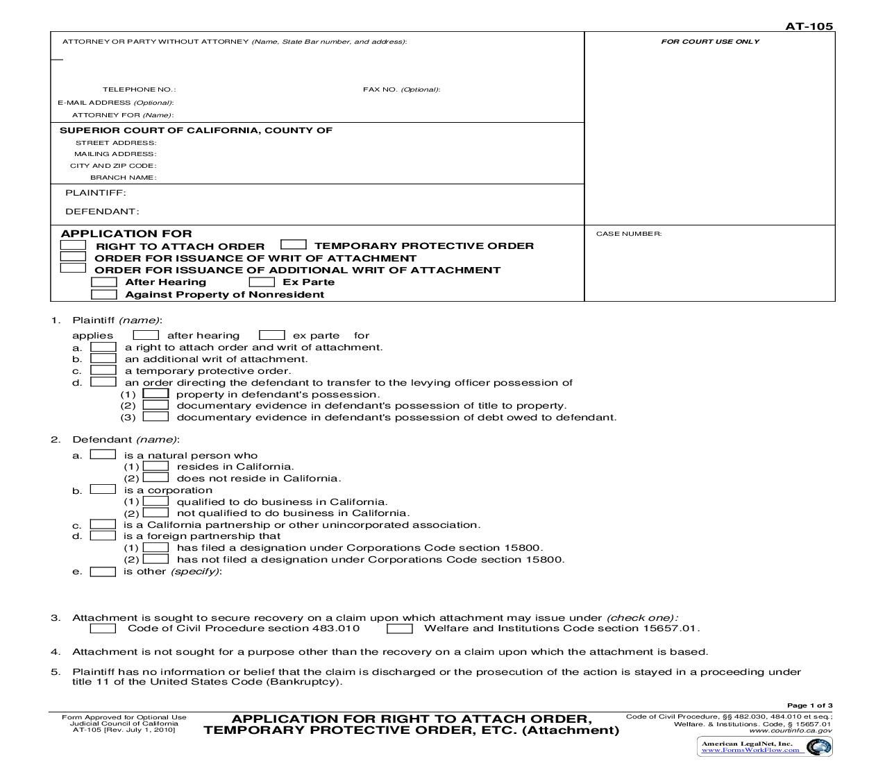 This Is A California Form That Can Be Used For Attachment Within